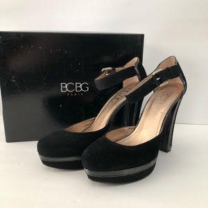 BCBG Platform Black Suede Shoe